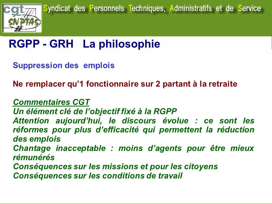 Suppression des emplois Ne remplacer qu1 fonctionnaire sur 2 partant à la retraite Commentaires CGT Un élément clé de lobjectif fixé à la RGPP Attenti