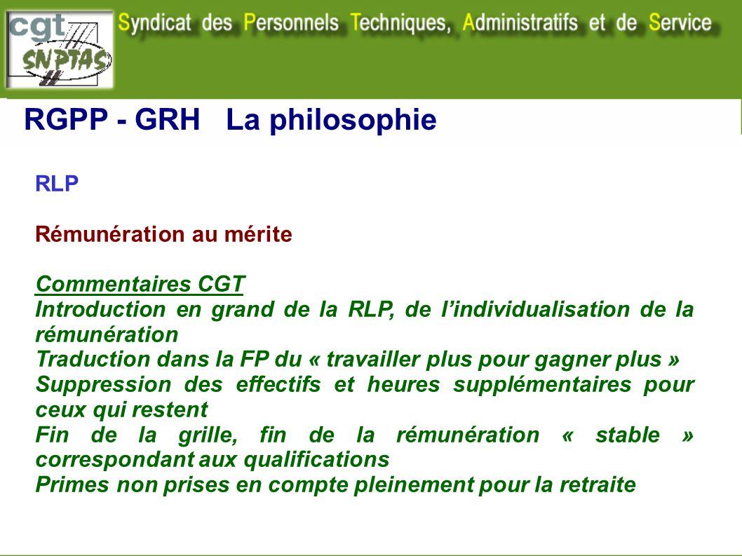 RLP Rémunération au mérite Commentaires CGT Introduction en grand de la RLP, de lindividualisation de la rémunération Traduction dans la FP du « trava