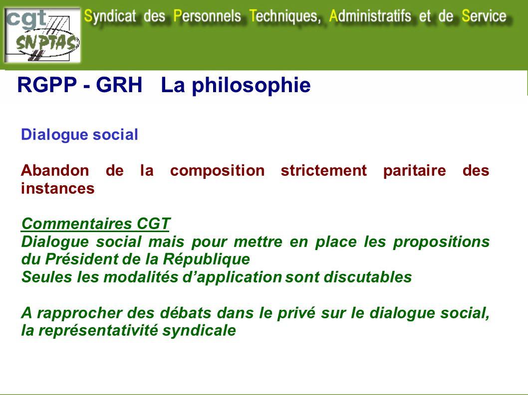 Dialogue social Abandon de la composition strictement paritaire des instances Commentaires CGT Dialogue social mais pour mettre en place les propositi