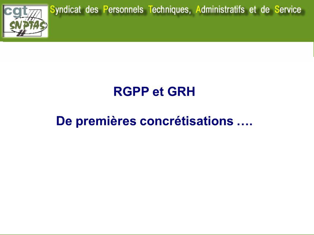 RGPP et GRH De premières concrétisations …. Nota : ce document ne traite pas de la partie GRH