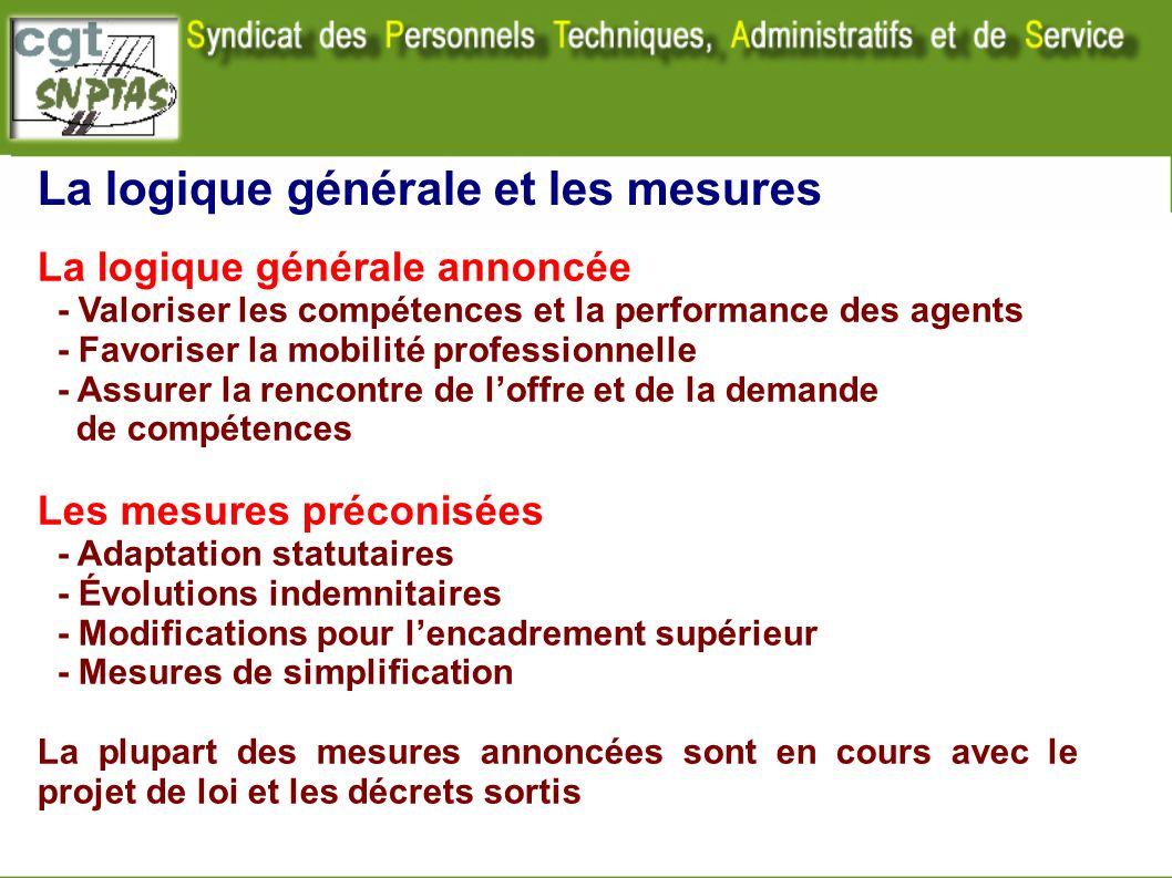 La logique générale et les mesures La logique générale annoncée - Valoriser les compétences et la performance des agents - Favoriser la mobilité profe