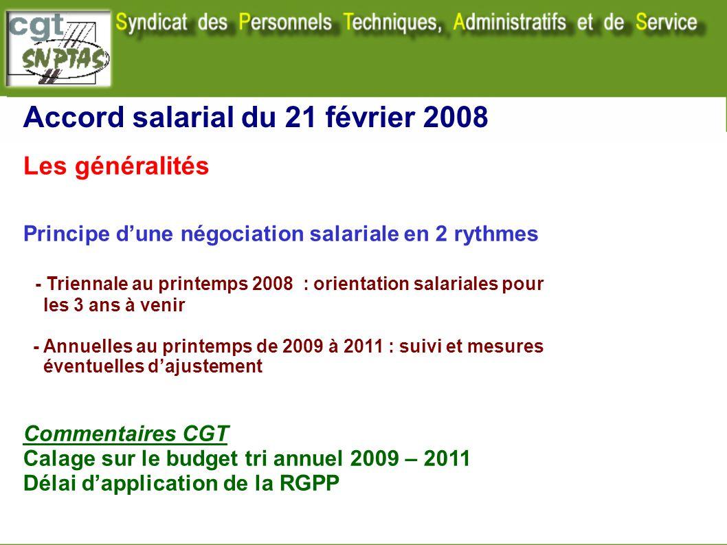Accord salarial du 21 février 2008 Les généralités Principe dune négociation salariale en 2 rythmes - Triennale au printemps 2008 : orientation salari