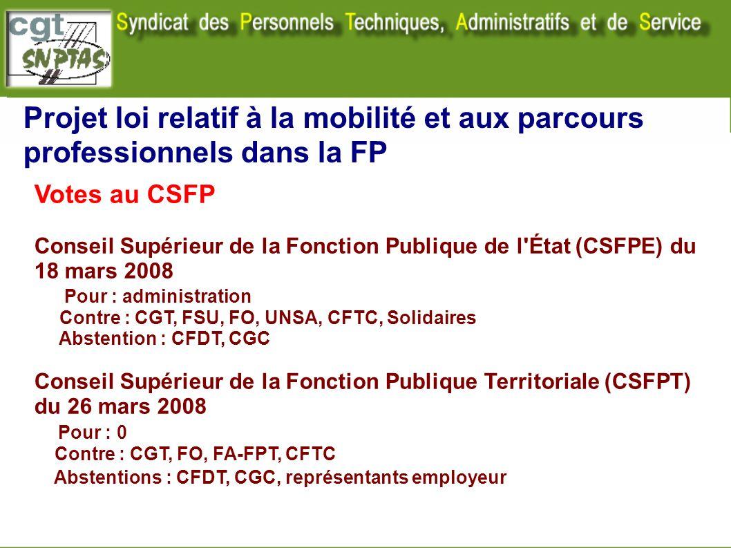 Projet loi relatif à la mobilité et aux parcours professionnels dans la FP Votes au CSFP Conseil Supérieur de la Fonction Publique de l'État (CSFPE) d