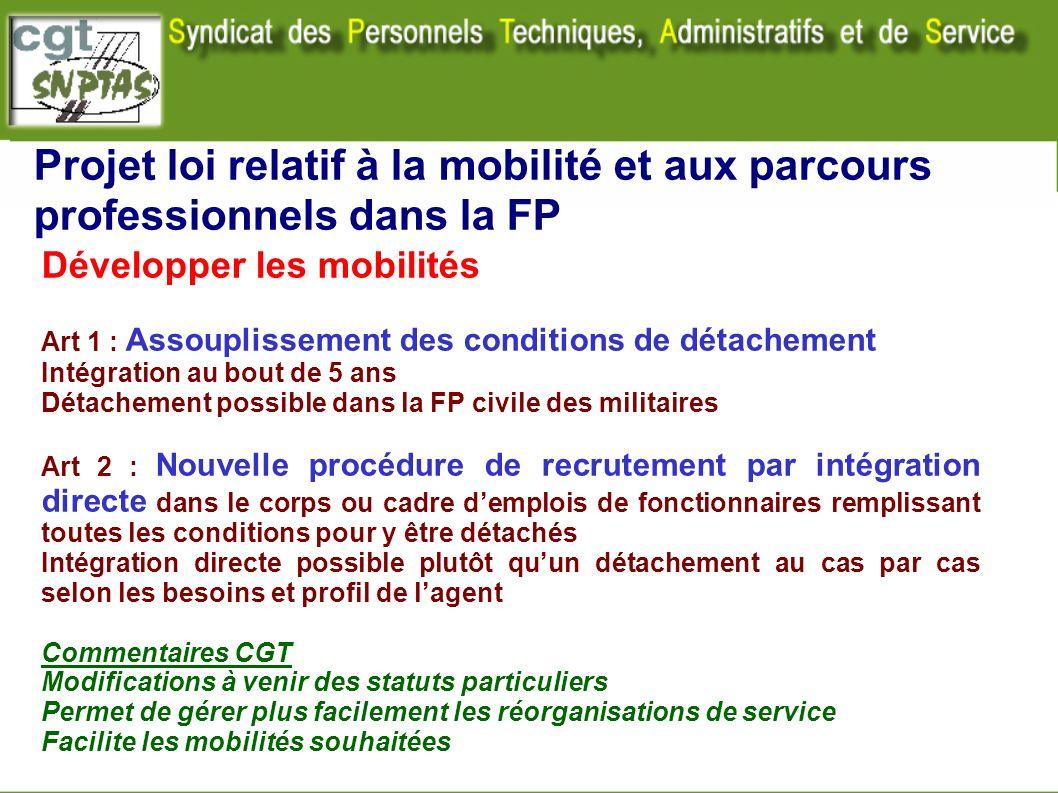Projet loi relatif à la mobilité et aux parcours professionnels dans la FP Développer les mobilités Art 1 : Assouplissement des conditions de détachem