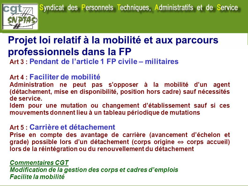 Projet loi relatif à la mobilité et aux parcours professionnels dans la FP Art 3 : Pendant de larticle 1 FP civile – militaires Art 4 : Faciliter de m