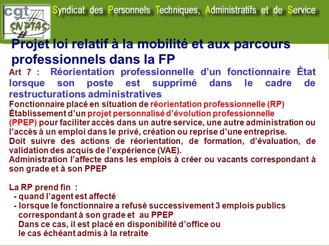 Projet loi relatif à la mobilité et aux parcours professionnels dans la FP Art 7 : Réorientation professionnelle dun fonctionnaire État lorsque son po