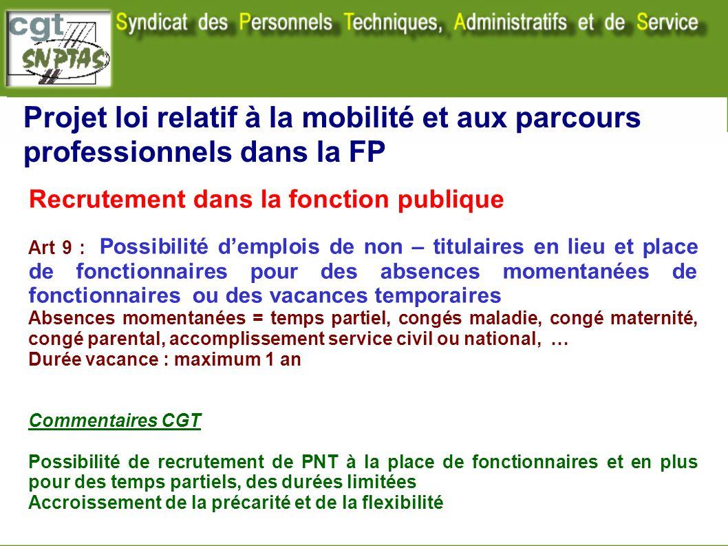 Projet loi relatif à la mobilité et aux parcours professionnels dans la FP Recrutement dans la fonction publique Art 9 : Possibilité demplois de non –