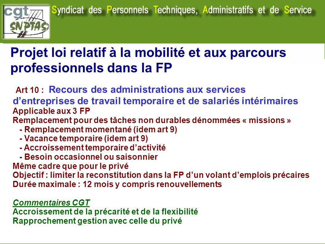 Projet loi relatif à la mobilité et aux parcours professionnels dans la FP Art 10 : Recours des administrations aux services dentreprises de travail t
