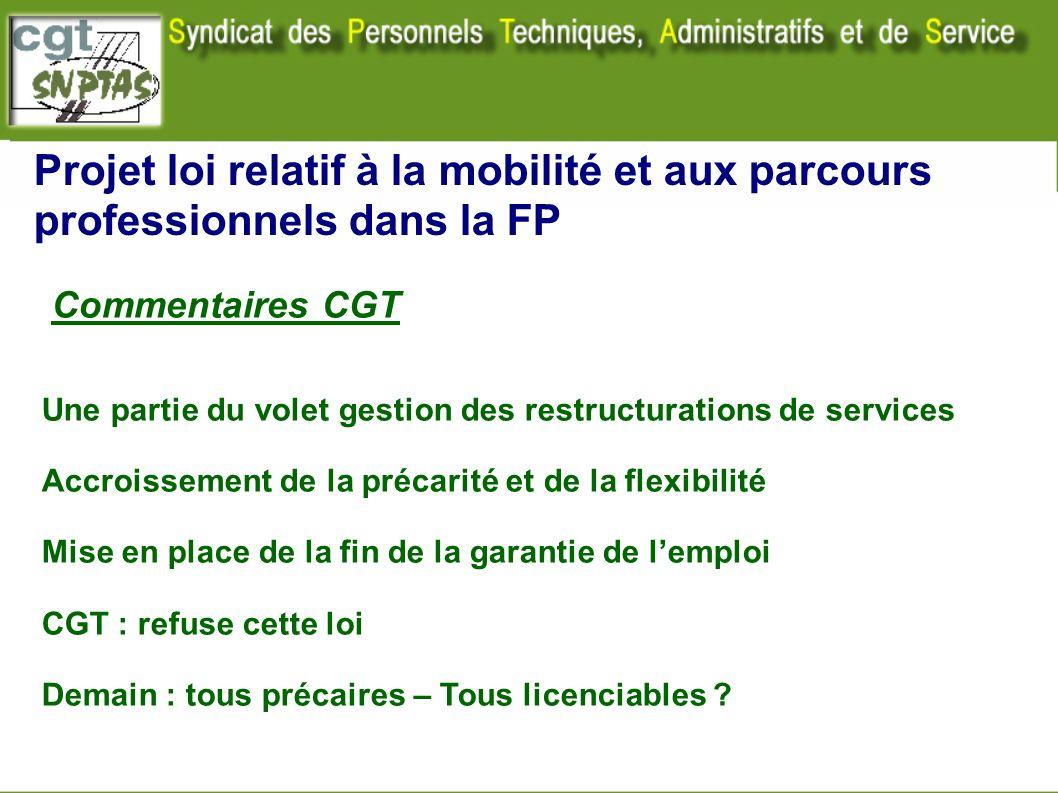 Projet loi relatif à la mobilité et aux parcours professionnels dans la FP Commentaires CGT Une partie du volet gestion des restructurations de servic