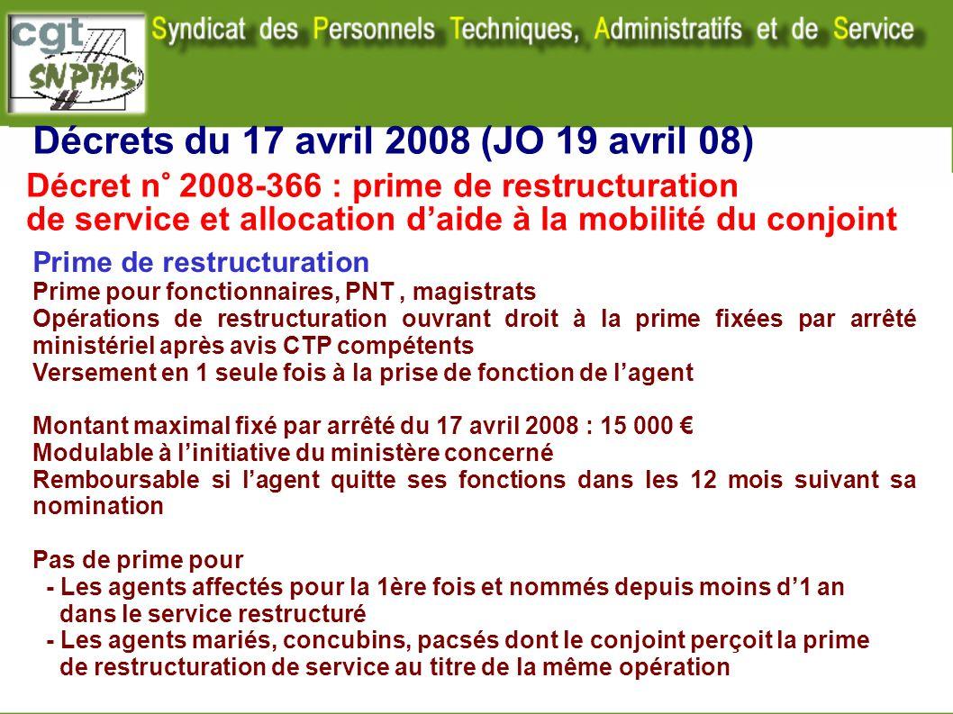 Décrets du 17 avril 2008 (JO 19 avril 08) Prime de restructuration Prime pour fonctionnaires, PNT, magistrats Opérations de restructuration ouvrant dr