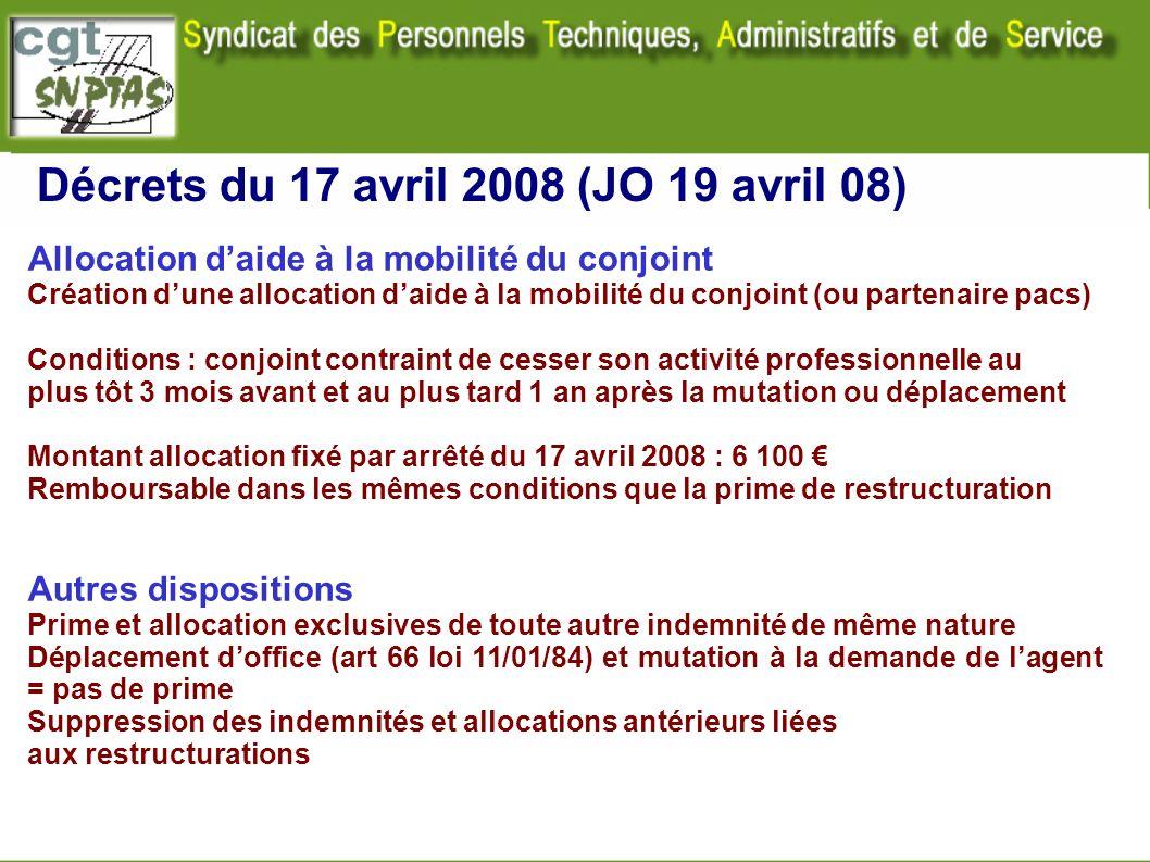 Décrets du 17 avril 2008 (JO 19 avril 08) Allocation daide à la mobilité du conjoint Création dune allocation daide à la mobilité du conjoint (ou part