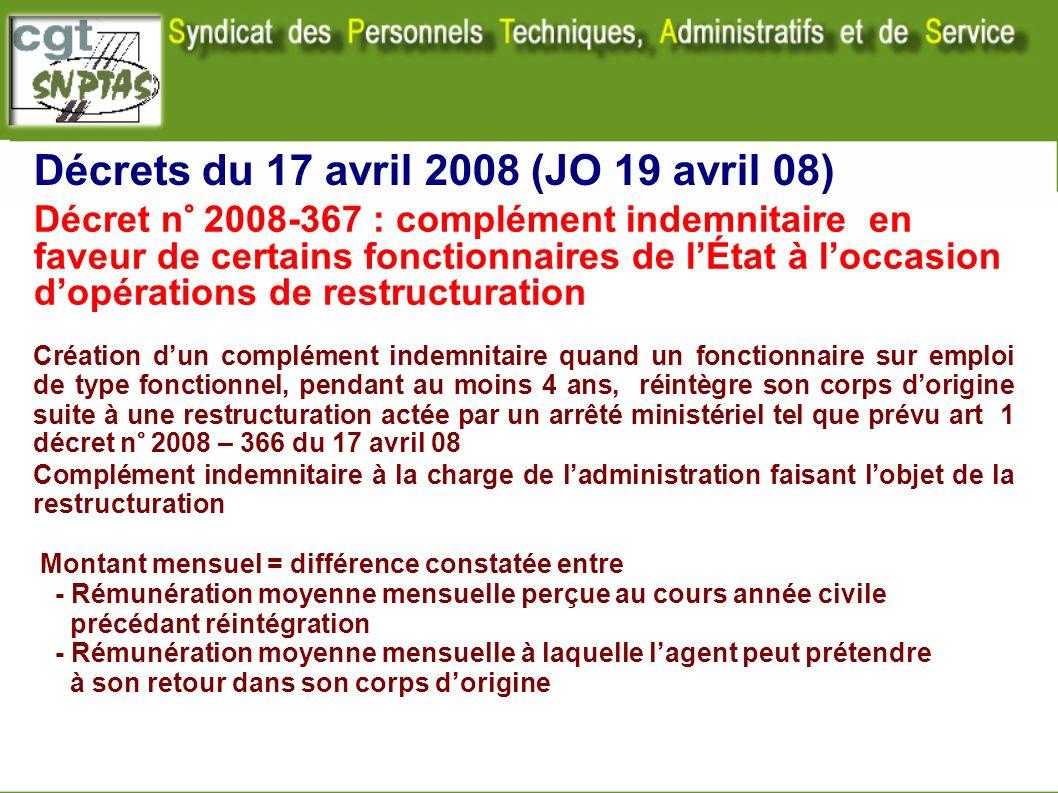 Décrets du 17 avril 2008 (JO 19 avril 08) Création dun complément indemnitaire quand un fonctionnaire sur emploi de type fonctionnel, pendant au moins
