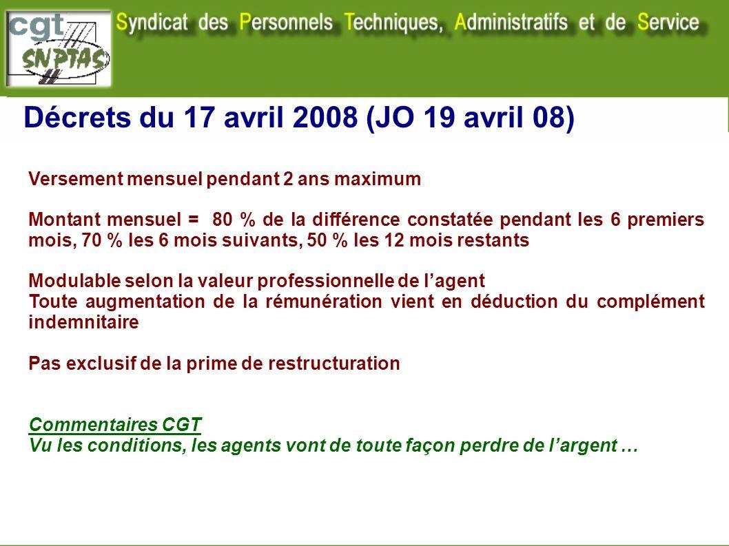 Décrets du 17 avril 2008 (JO 19 avril 08) Versement mensuel pendant 2 ans maximum Montant mensuel = 80 % de la différence constatée pendant les 6 prem