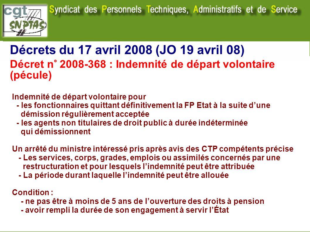 Décrets du 17 avril 2008 (JO 19 avril 08) Indemnité de départ volontaire pour - les fonctionnaires quittant définitivement la FP Etat à la suite dune