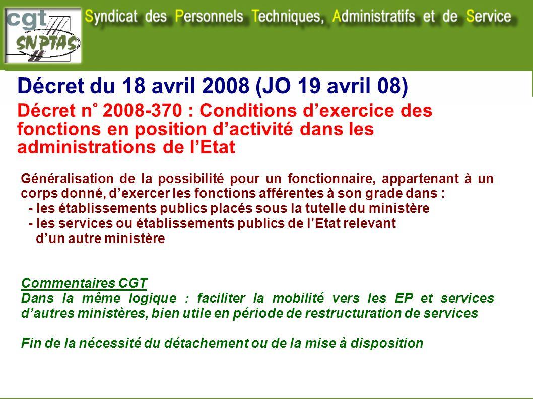 Décret du 18 avril 2008 (JO 19 avril 08) Décret n° 2008-370 : Conditions dexercice des fonctions en position dactivité dans les administrations de lEt