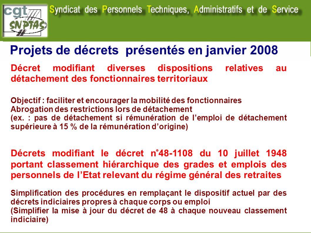 Projets de décrets présentés en janvier 2008 Décret modifiant diverses dispositions relatives au détachement des fonctionnaires territoriaux Objectif