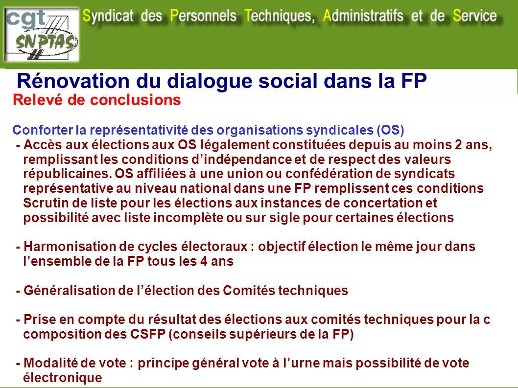 Rénovation du dialogue social dans la FP Relevé de conclusions Conforter la représentativité des organisations syndicales (OS) - Accès aux élections a