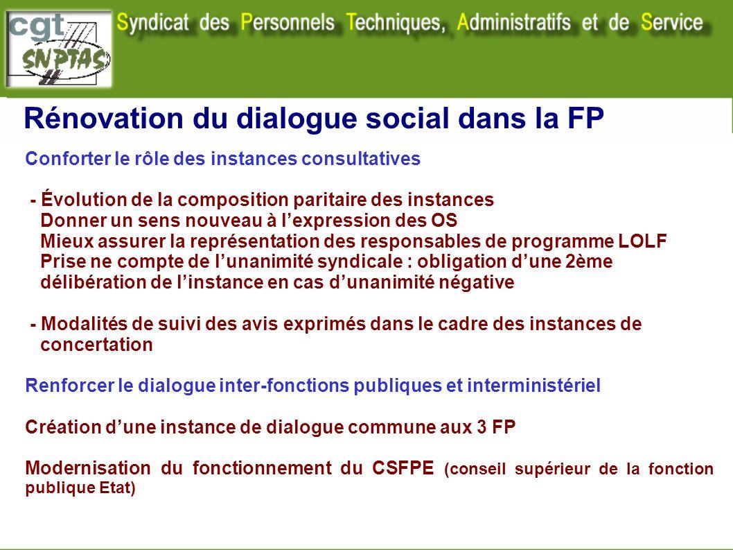 Rénovation du dialogue social dans la FP Conforter le rôle des instances consultatives - Évolution de la composition paritaire des instances Donner un