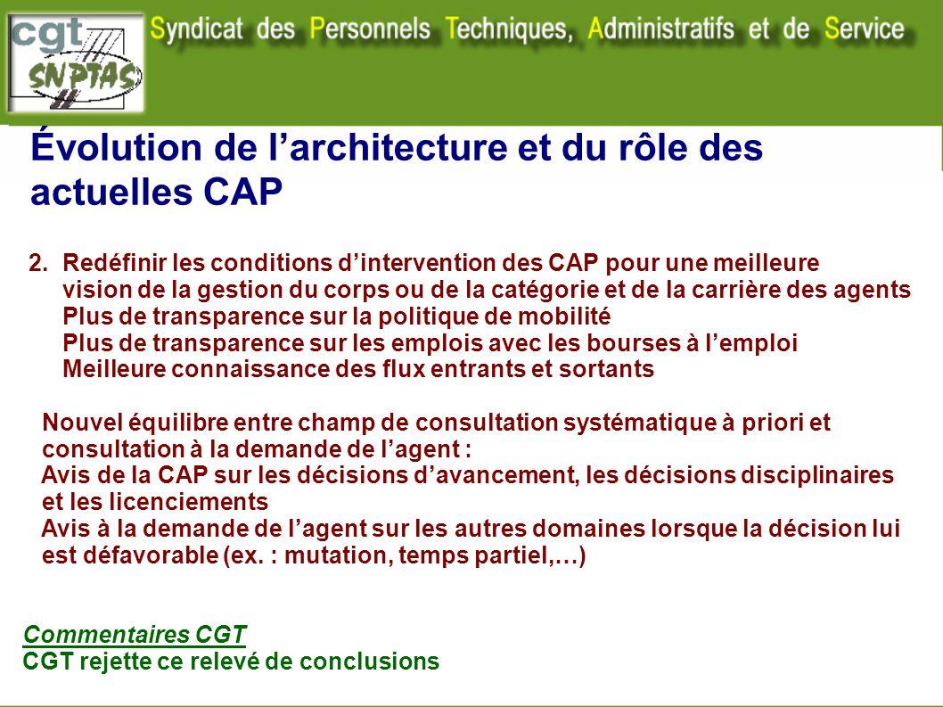 Évolution de larchitecture et du rôle des actuelles CAP 2. Redéfinir les conditions dintervention des CAP pour une meilleure vision de la gestion du c
