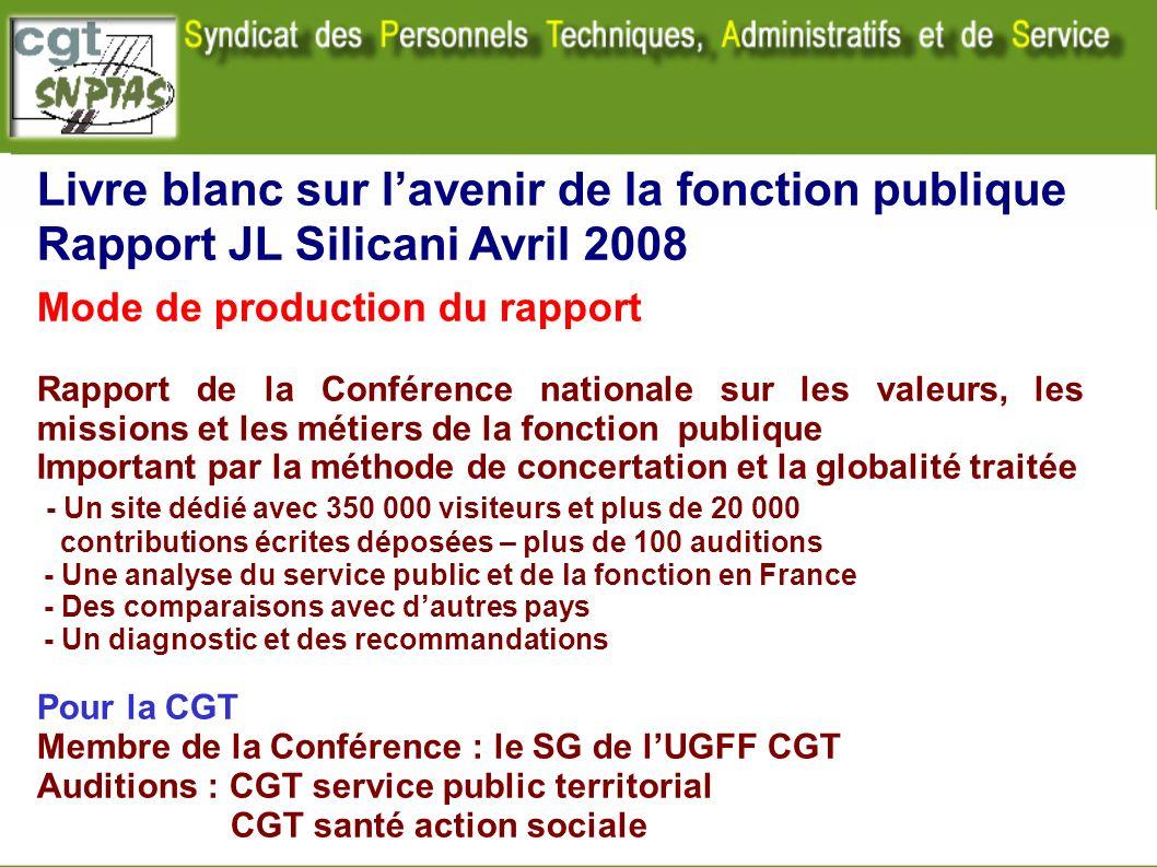Livre blanc sur lavenir de la fonction publique Rapport JL Silicani Avril 2008 Mode de production du rapport Rapport de la Conférence nationale sur le