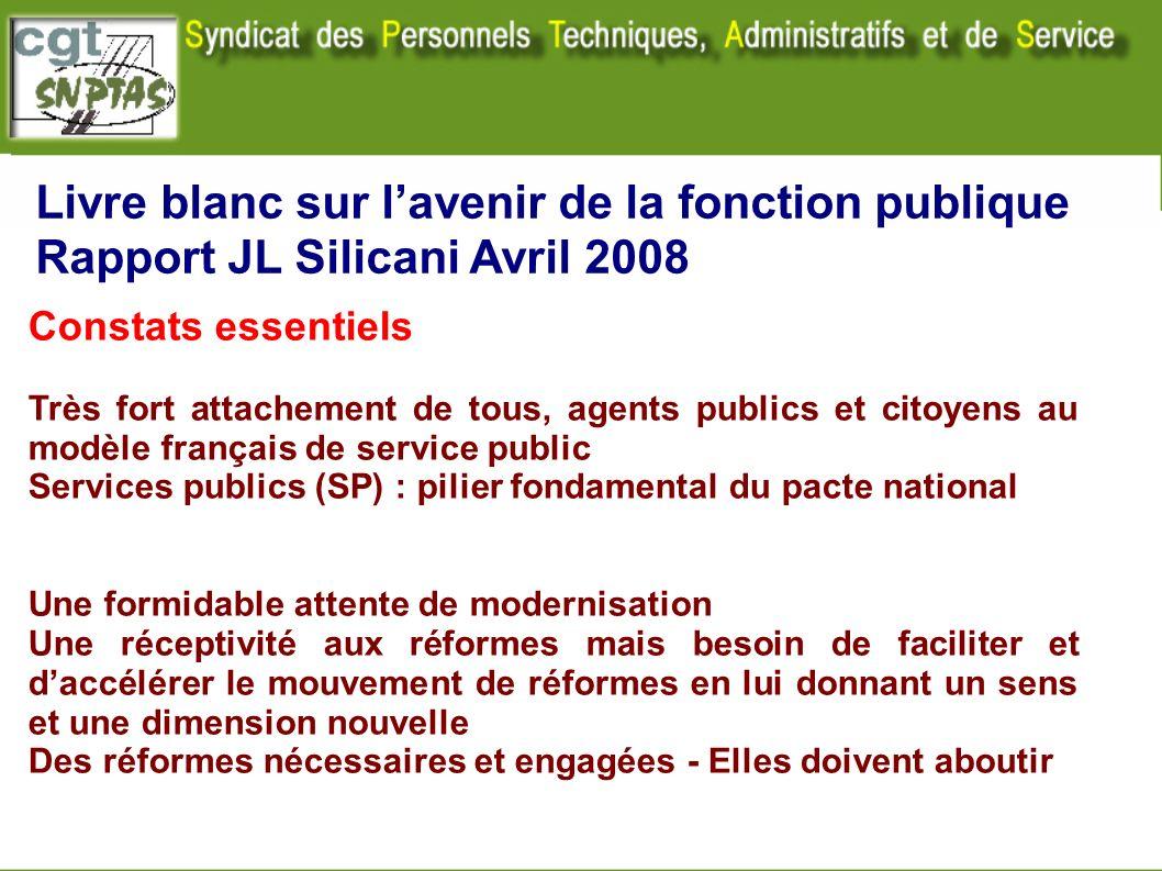 Livre blanc sur lavenir de la fonction publique Rapport JL Silicani Avril 2008 Constats essentiels Très fort attachement de tous, agents publics et ci