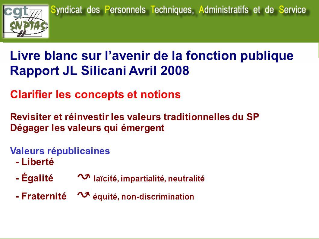 Livre blanc sur lavenir de la fonction publique Rapport JL Silicani Avril 2008 Clarifier les concepts et notions Revisiter et réinvestir les valeurs t