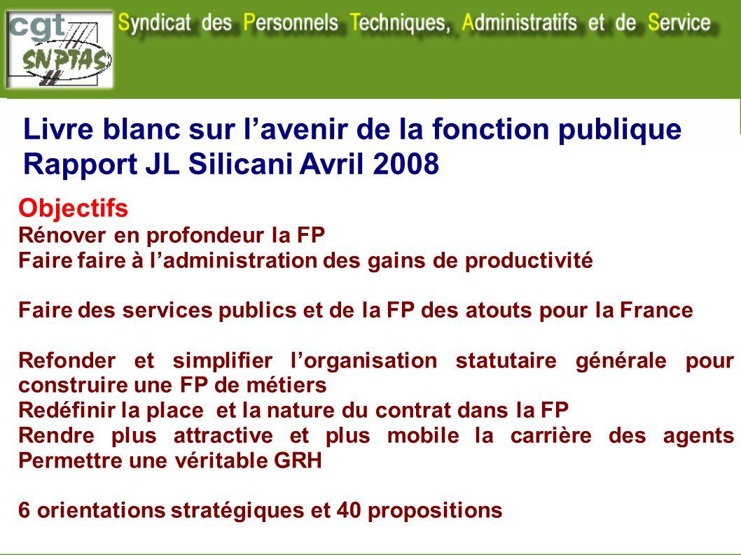 Livre blanc sur lavenir de la fonction publique Rapport JL Silicani Avril 2008 Objectifs Rénover en profondeur la FP Faire faire à ladministration des