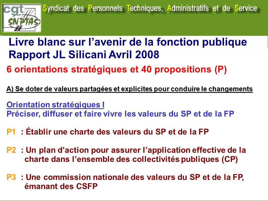 Livre blanc sur lavenir de la fonction publique Rapport JL Silicani Avril 2008 6 orientations stratégiques et 40 propositions (P) A) Se doter de valeu