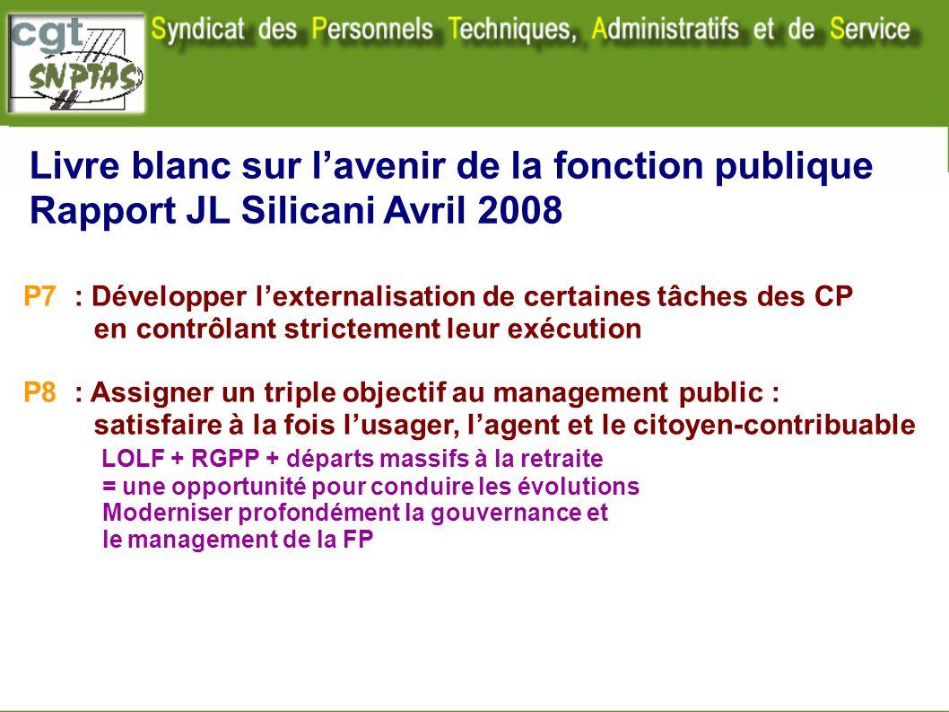 Livre blanc sur lavenir de la fonction publique Rapport JL Silicani Avril 2008 P7 : Développer lexternalisation de certaines tâches des CP en contrôla