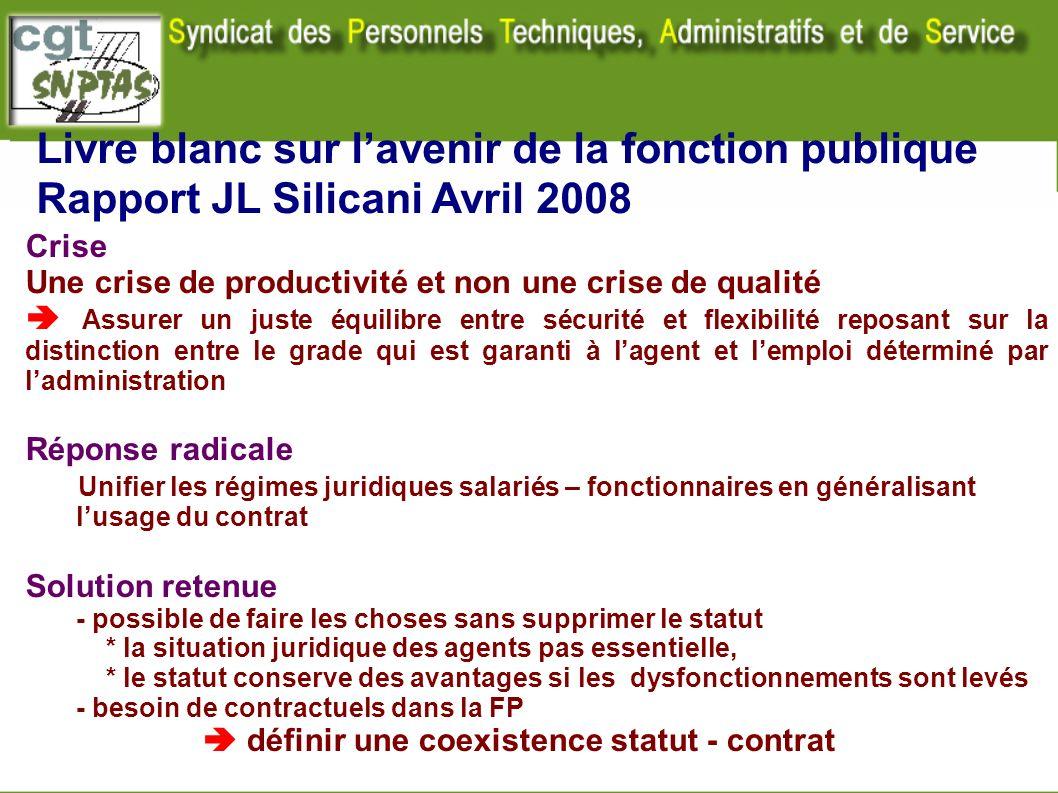 Livre blanc sur lavenir de la fonction publique Rapport JL Silicani Avril 2008 Crise Une crise de productivité et non une crise de qualité Assurer un