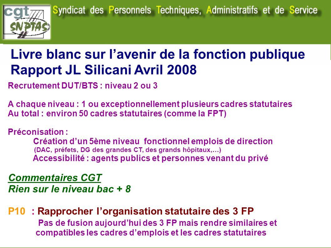 Livre blanc sur lavenir de la fonction publique Rapport JL Silicani Avril 2008 Recrutement DUT/BTS : niveau 2 ou 3 A chaque niveau : 1 ou exceptionnel