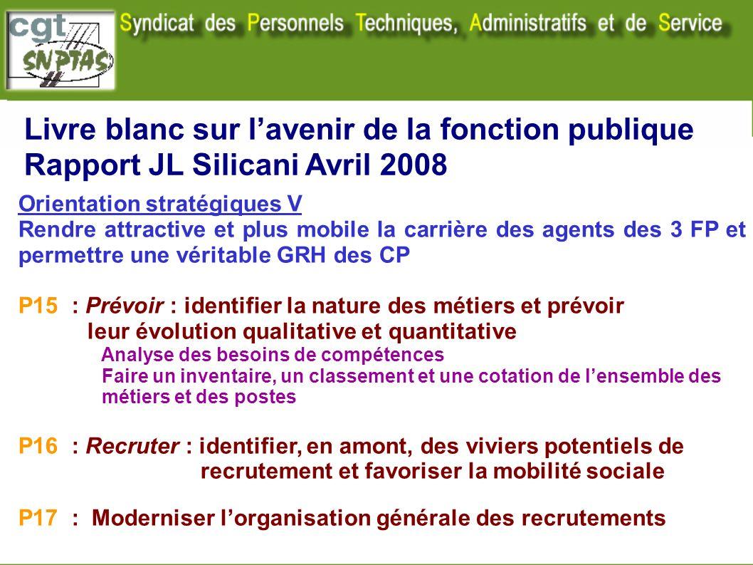 Livre blanc sur lavenir de la fonction publique Rapport JL Silicani Avril 2008 Orientation stratégiques V Rendre attractive et plus mobile la carrière