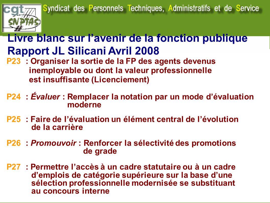 Livre blanc sur lavenir de la fonction publique Rapport JL Silicani Avril 2008 P23 : Organiser la sortie de la FP des agents devenus inemployable ou d