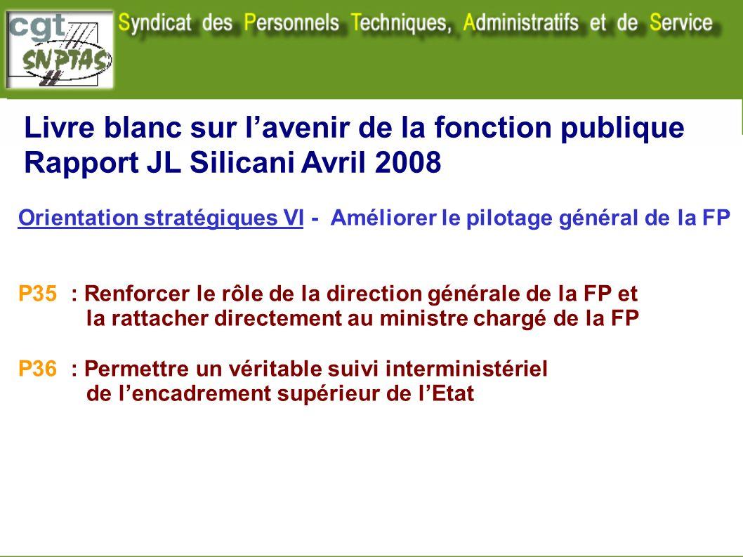 Livre blanc sur lavenir de la fonction publique Rapport JL Silicani Avril 2008 Orientation stratégiques VI - Améliorer le pilotage général de la FP P3