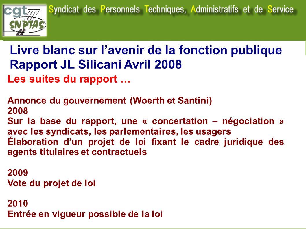 Livre blanc sur lavenir de la fonction publique Rapport JL Silicani Avril 2008 Les suites du rapport … Annonce du gouvernement (Woerth et Santini) 200