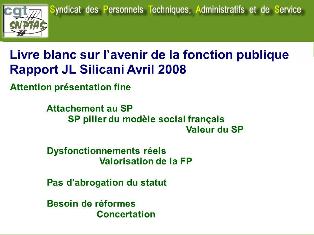 Livre blanc sur lavenir de la fonction publique Rapport JL Silicani Avril 2008 Attention présentation fine Attachement au SP SP pilier du modèle socia