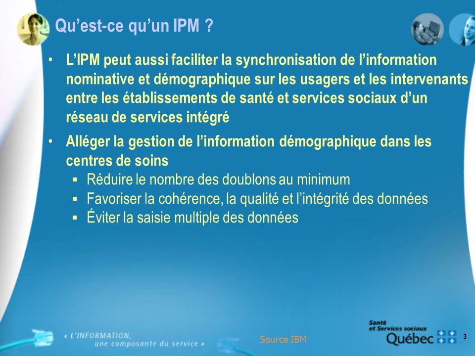3 Quest-ce quun IPM ? LIPM peut aussi faciliter la synchronisation de linformation nominative et démographique sur les usagers et les intervenants ent