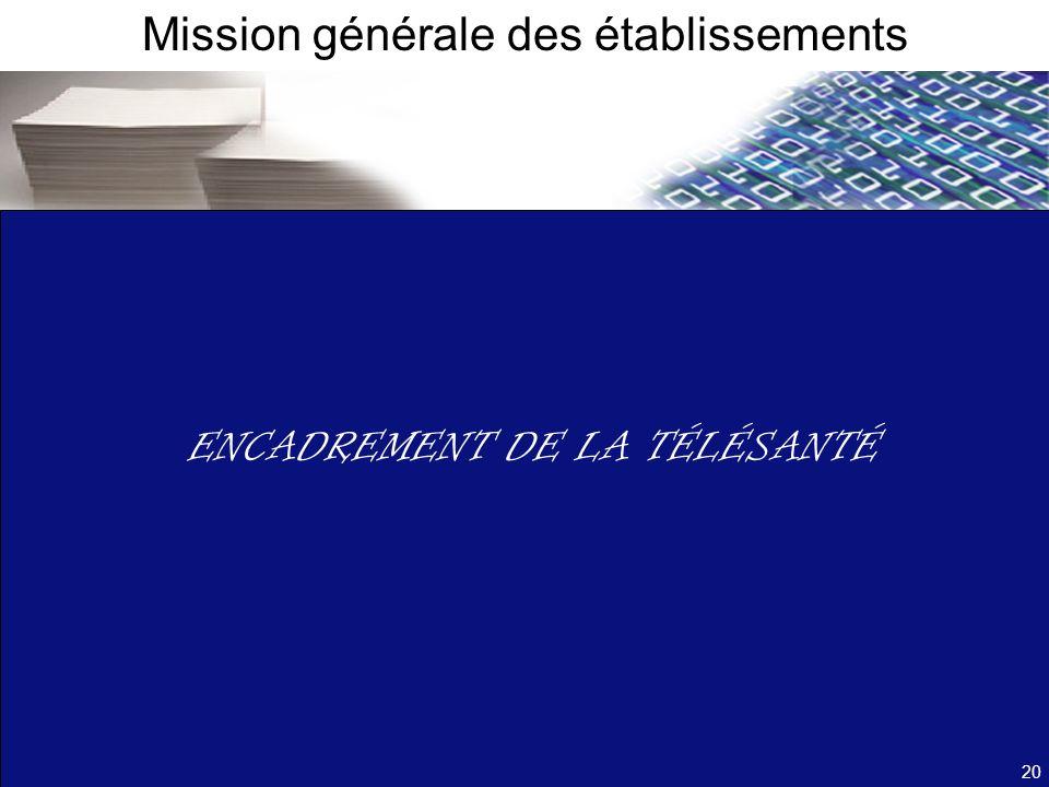 ENCADREMENT DE LA TÉLÉSANTÉ Mission générale des établissements 20