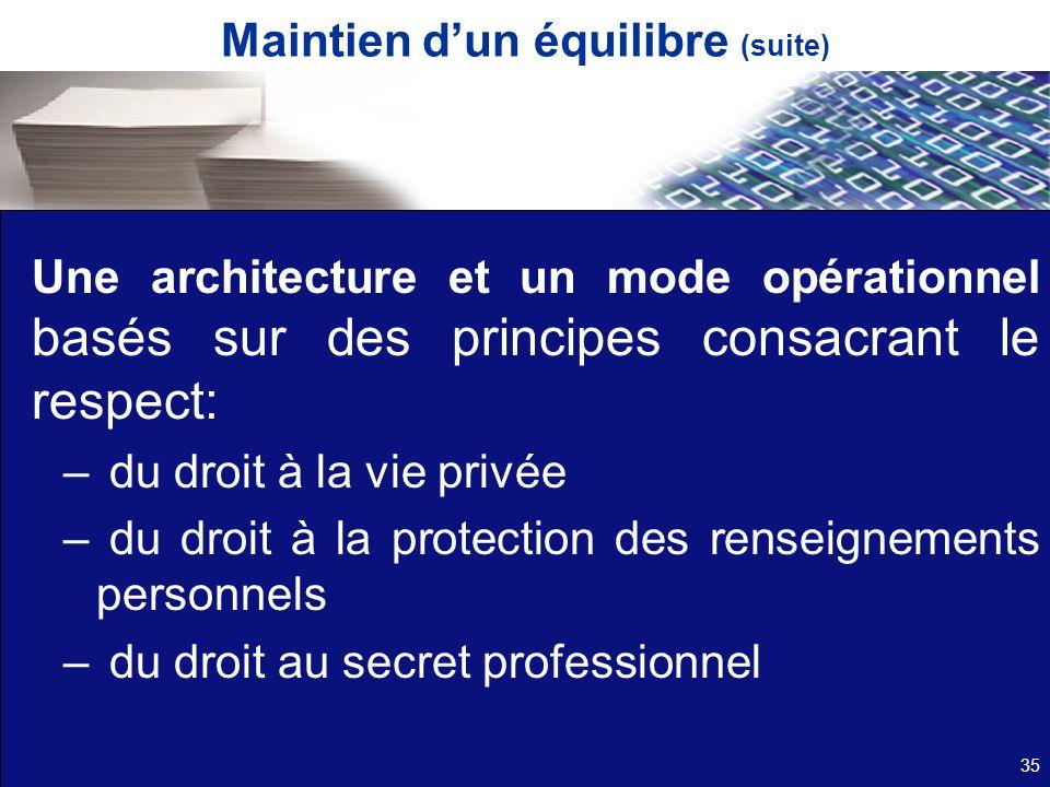 Une architecture et un mode opérationnel basés sur des principes consacrant le respect: – du droit à la vie privée – du droit à la protection des rens