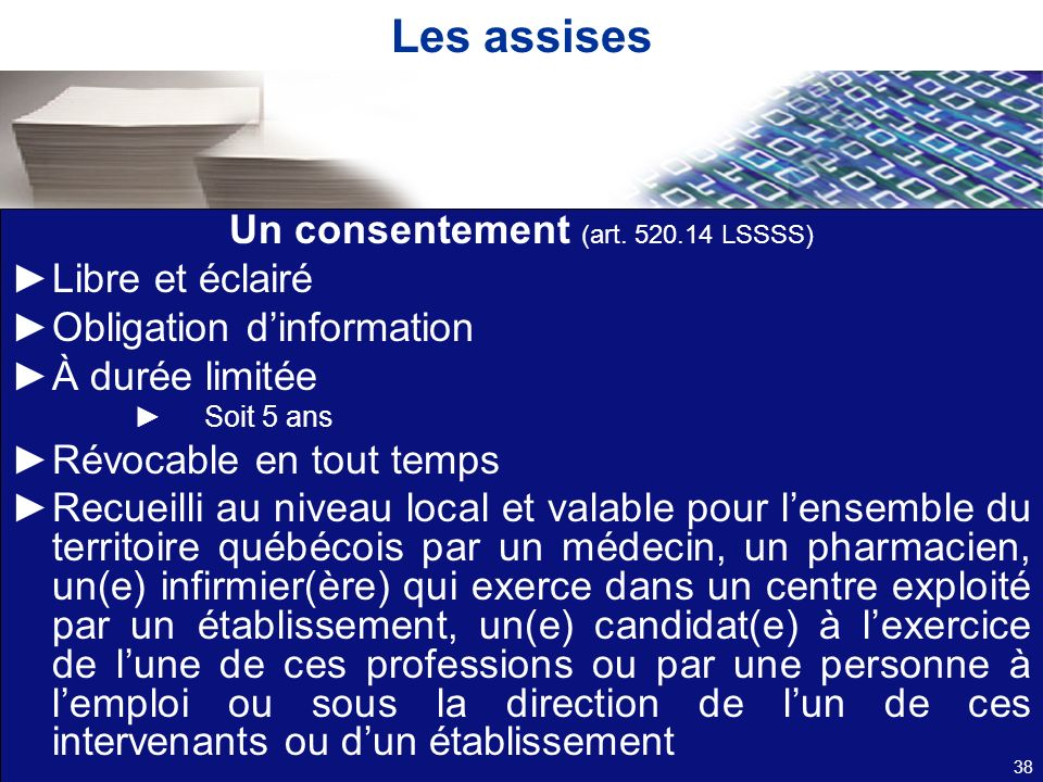 Les assises Un consentement (art.