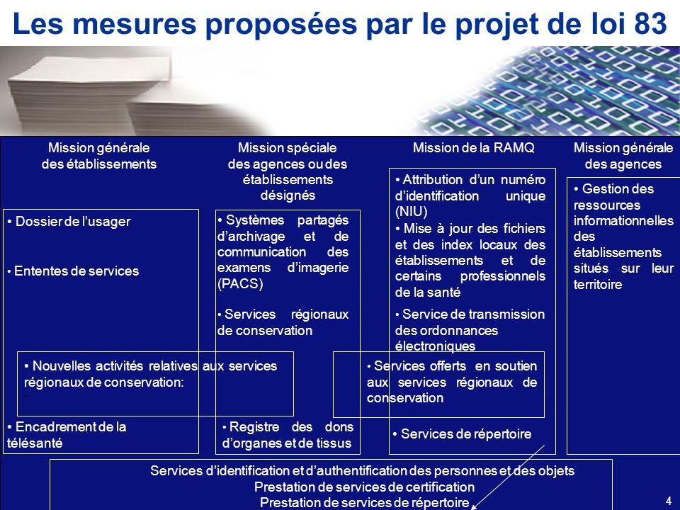 Les mesures proposées par le projet de loi 83 Mission générale des établissements Mission spéciale des agences ou des établissements désignés Mission