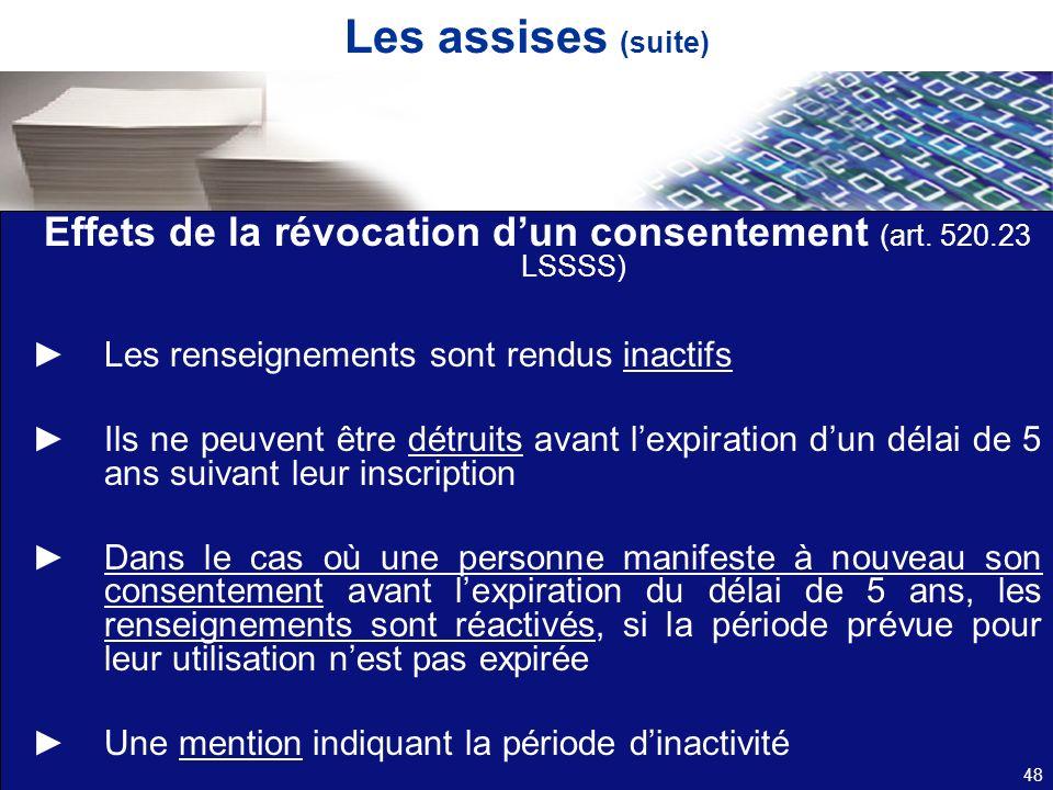 Les assises (suite) Effets de la révocation dun consentement (art. 520.23 LSSSS) Les renseignements sont rendus inactifs Ils ne peuvent être détruits