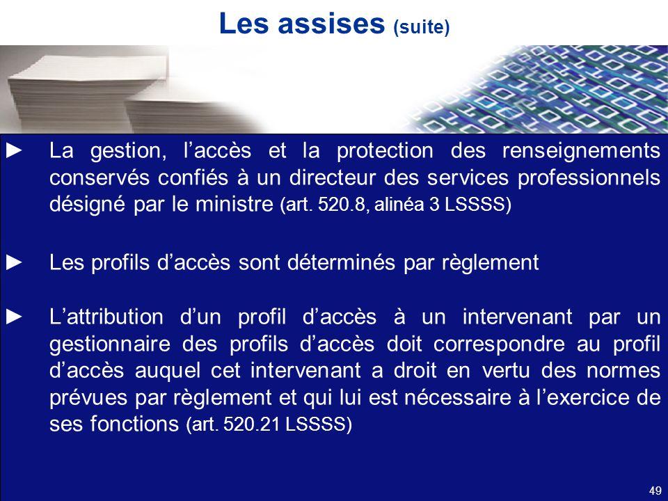 Les assises (suite) La gestion, laccès et la protection des renseignements conservés confiés à un directeur des services professionnels désigné par le