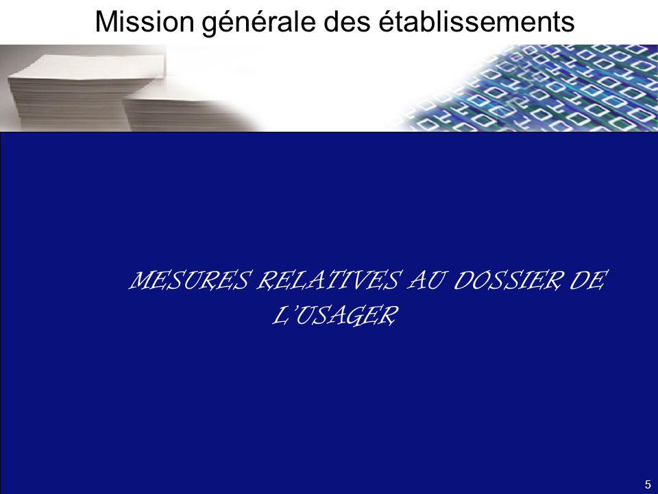 MESURES RELATIVES AU DOSSIER DE LUSAGER Mission générale des établissements 5