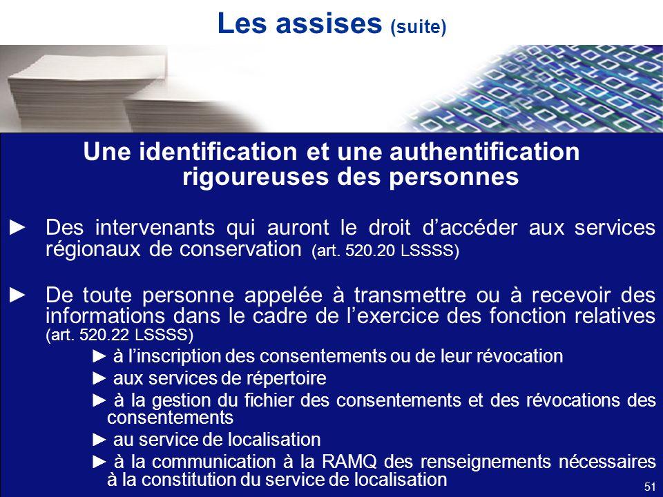 Les assises (suite) Une identification et une authentification rigoureuses des personnes Des intervenants qui auront le droit daccéder aux services ré
