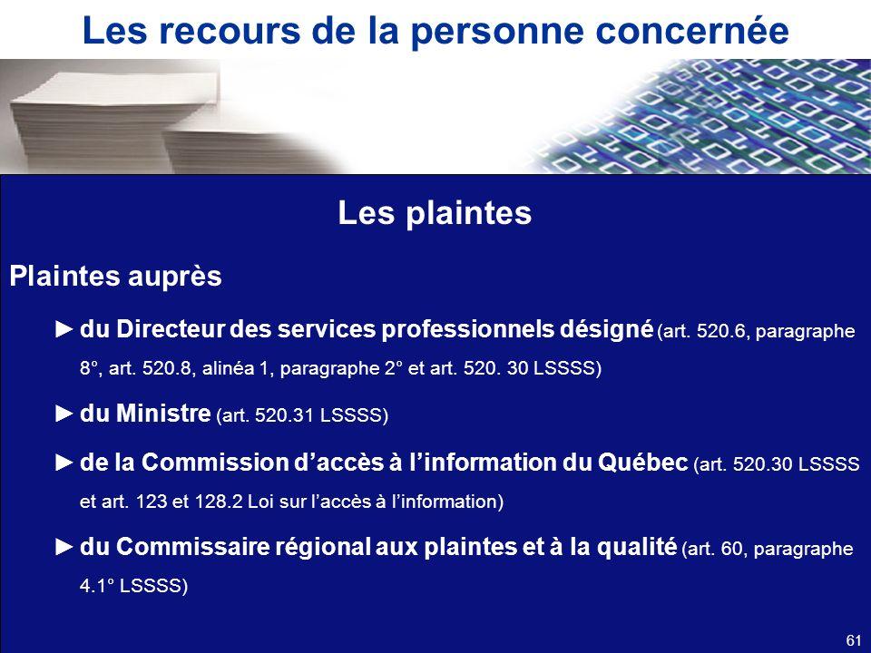 Les recours de la personne concernée Les plaintes Plaintes auprès du Directeur des services professionnels désigné (art. 520.6, paragraphe 8 °, art. 5