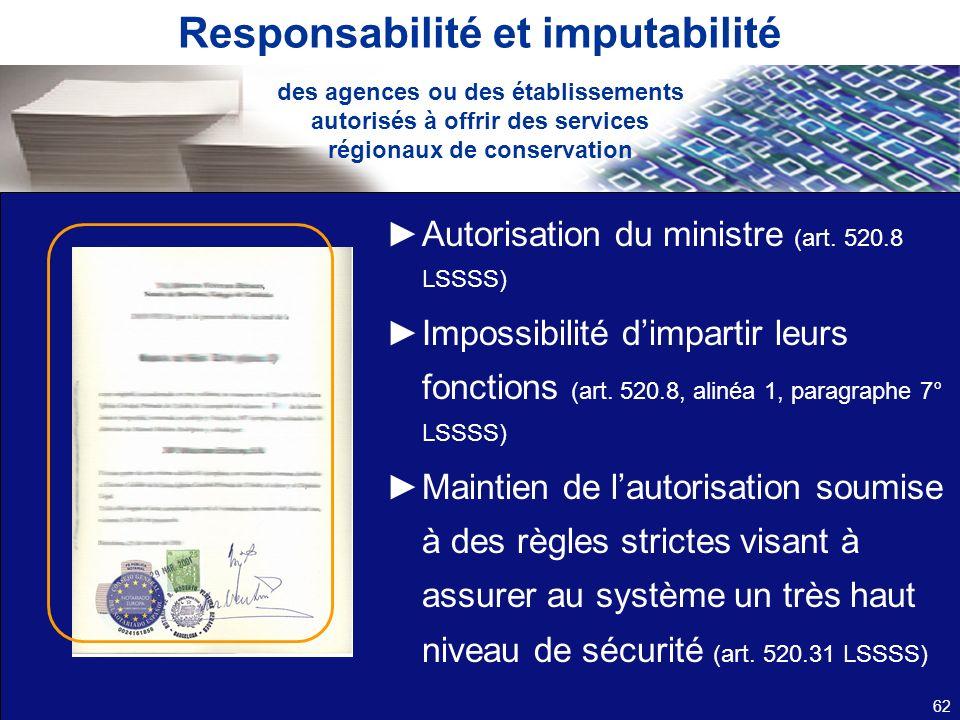 Responsabilité et imputabilité Autorisation du ministre (art. 520.8 LSSSS) Impossibilité dimpartir leurs fonctions (art. 520.8, alinéa 1, paragraphe 7