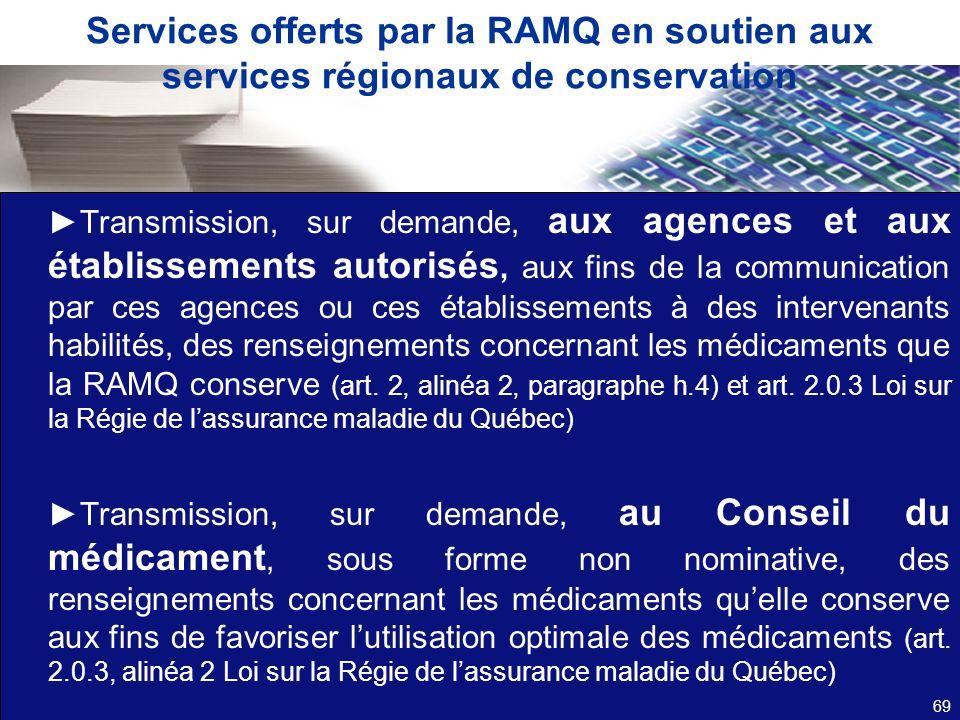 Services offerts par la RAMQ en soutien aux services régionaux de conservation Transmission, sur demande, aux agences et aux établissements autorisés,