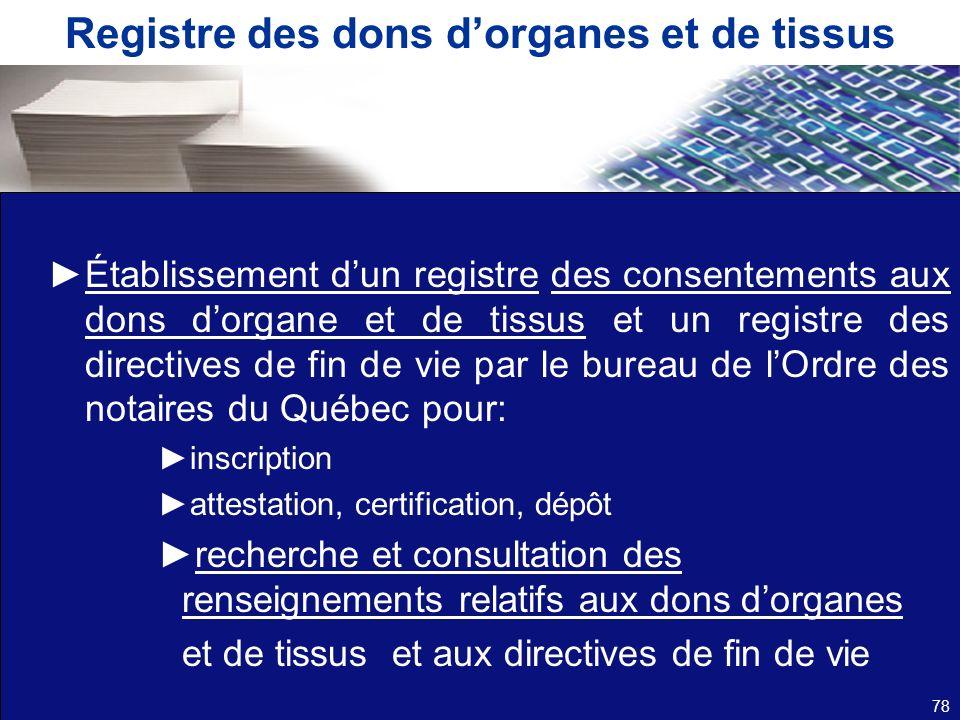 Registre des dons dorganes et de tissus Établissement dun registre des consentements aux dons dorgane et de tissus et un registre des directives de fi
