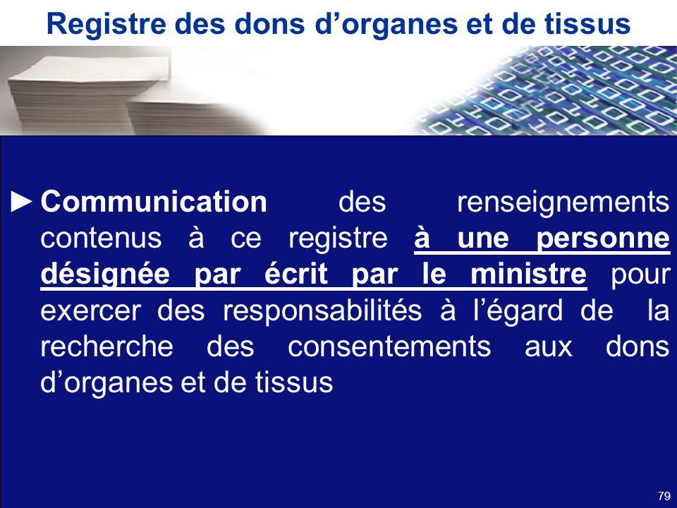 Registre des dons dorganes et de tissus Communication des renseignements contenus à ce registre à une personne désignée par écrit par le ministre pour